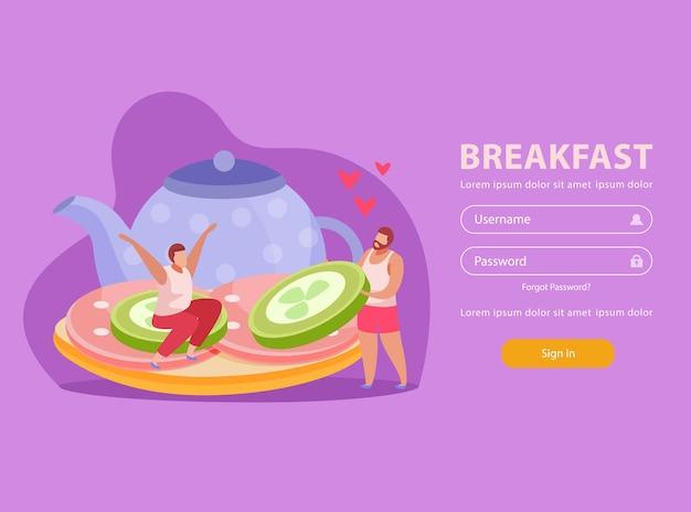 Osoby z płaską stroną docelową ze śniadaniem, dwie osoby na kanapce i interfejs konta osobistego