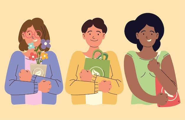 Osoby z produktami ekologicznymi