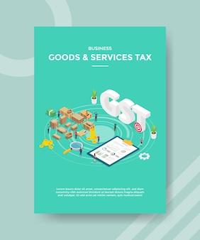 Osoby zajmujące się podatkiem od towarów i usług biznesowych stoją wokół opakowania pudełkowego dla szablonu banera i ulotki