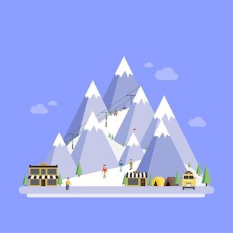 Ośrodek narciarski. krajobrazy górskie. płaskie ilustracje wektorowe