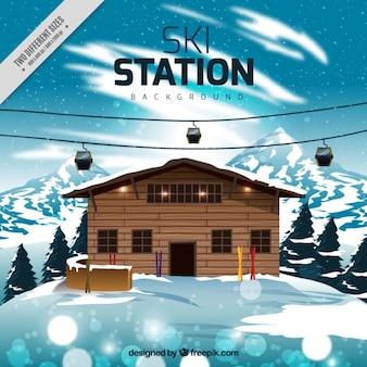 Ośrodek narciarski w tle i kolejka linowa