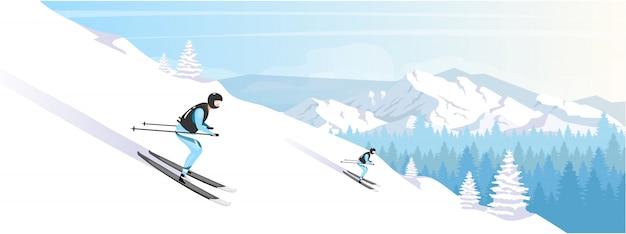 Ośrodek narciarski wakacje kolor płaski ilustracja
