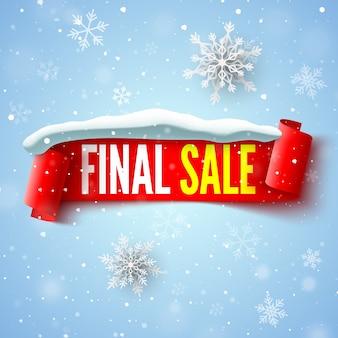 Ostateczny baner sprzedaży z czerwoną wstążką, czapką śnieżną i płatkami śniegu.