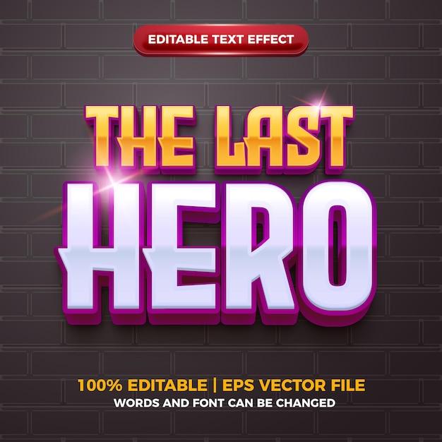 Ostatni bohater 3d esport logo edytowalny efekt tekstowy