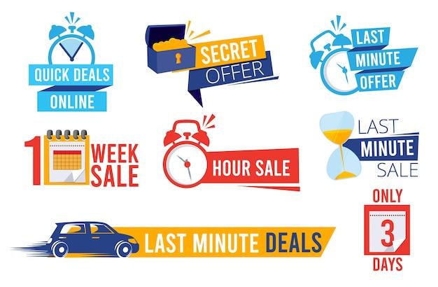 Ostatnie oferty. licznik sprzedaży najlepsze oferty czasowe banery rabatowe lub odznaki symbole zegara reklamujące promocję.