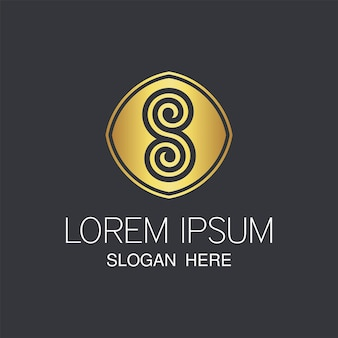 Ostatnie złote logo s. kreatywne abstrakcyjne projektowanie logo s.