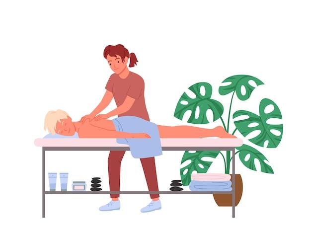 Osteopatia leczenie terapii masaż, ilustracja wektorowa pracy kręgarz. kreskówka terapeuta manualny lekarz postać masuje kręgosłup pacjenta faceta, scena medycyny osteopatii na białym tle