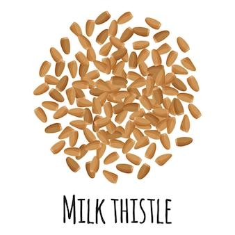 Ostropest plamisty do projektowania, etykietowania i pakowania szablonów na rynku rolników. ekologiczna super żywność z naturalnego białka energetycznego. ilustracja kreskówka na białym tle wektor.