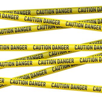 Ostrożnie i niebezpieczeństwo żółta taśma