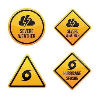 Ostry alert pogodowy. sezon huraganów. znaki ostrzegawcze etykiety.