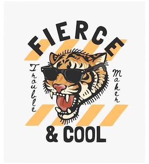 Ostry i chłodny z tygrysem w okularach przeciwsłonecznych ilustracyjnych