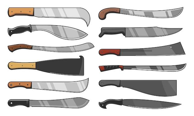 Ostrza Noży I Tasaki, Noże Bojowe I Rolnicze Premium Wektorów