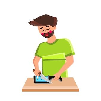 Ostrzałka do noża człowieka służy do przygotowania naczynia wektor. szef kuchni młody chłopiec za pomocą narzędzia kuchenne do ostrzenia nóż ze stali naczynia kuchenne. postać przygotowująca metalowy sprzęt ostrze płaskie ilustracja kreskówka