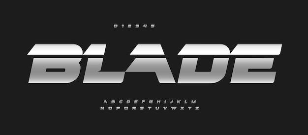 Ostrze alfabet pogrubiona kursywa litery auto logo typografia żelazo metaliczny wektor typograficzny dysk