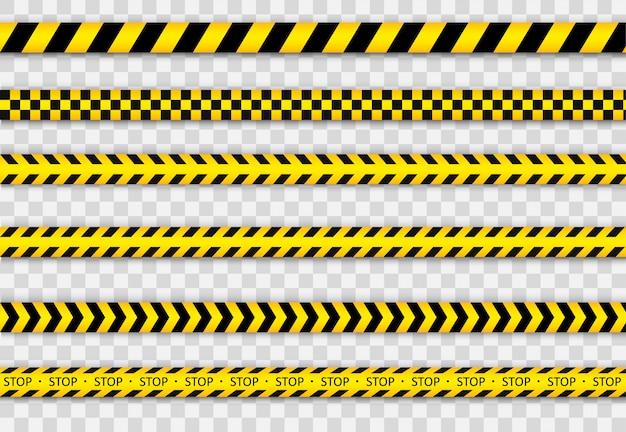 Ostrzegawcza czarno-żółta linia w paski. taśma policyjna.