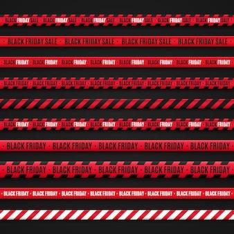 Ostrzegawcze czerwone taśmy o wyprzedaży w czarny piątek na czarnym tle