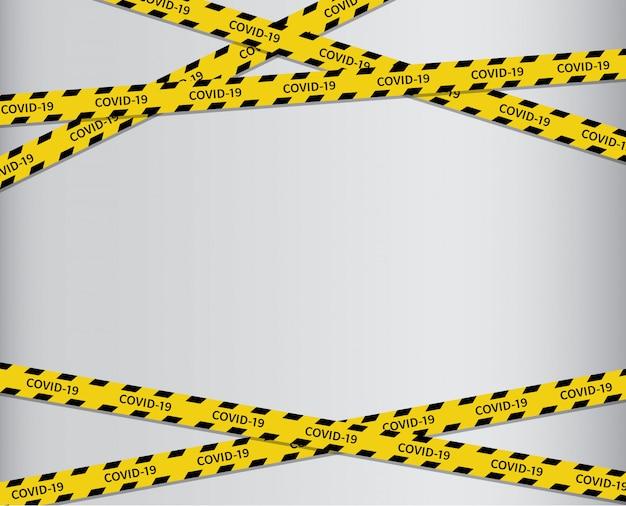 Ostrzegawcze taśmy covid-19. czarno-żółta linia w paski.