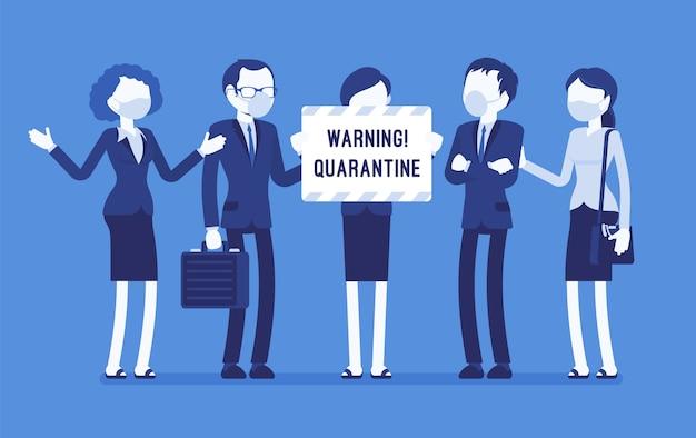 Ostrzeżenie dotyczące kwarantanny w biurze. zespół pracowników w maskach z nutą izolacji, niebezpieczeństwa choroby zakaźnej, zaraźliwej, przestaje działać, aby zapobiec rozprzestrzenianiu się wirusa. ilustracja z postaciami bez twarzy