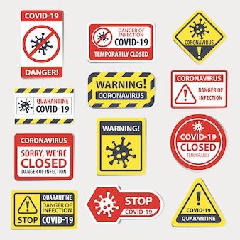 Ostrzeżenie o koronawirusie oznacza znak stopu, zagrożenie wirusowe i infekcję kwarantanną covid, tymczasowe zamknięte ikony oznakowań