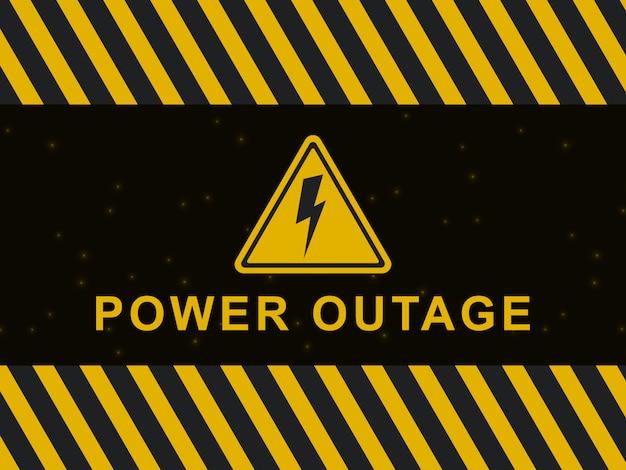 Ostrzeżenie o zaniku zasilania. ikona przerwy w dostawie prądu i znak na czarno-żółtym tle.