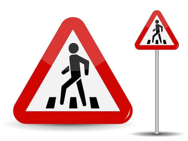 Ostrzeżenie o znakach drogowych. w czerwonym trójkącie mężczyzna na przejściu dla pieszych. ilustracja.