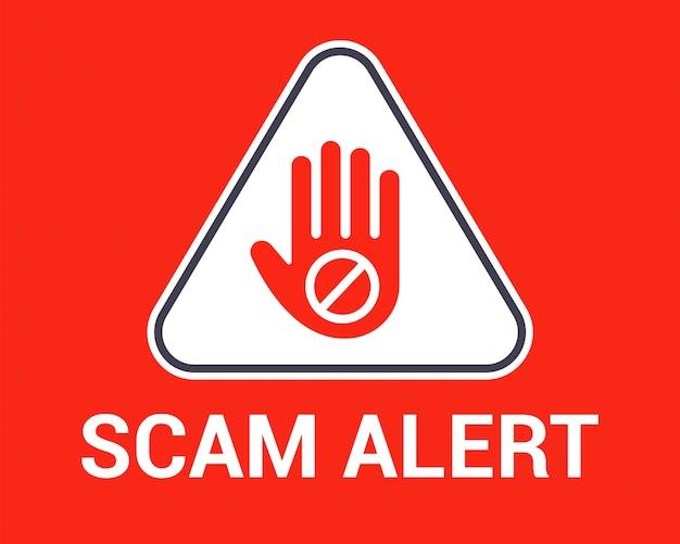 Ostrzeżenie przed oszustwem. gest dłoni powstrzymujący użytkownika przed hakerami. ilustracja wektorowa płaskie.