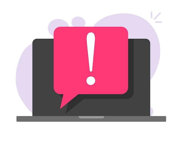 Ostrzeżenie przed oszustwem online ważna wiadomość na laptopie