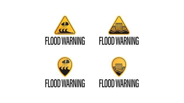 Ostrzeżenie przed powodzią, żółto - czarne symbole ostrzegawcze na białym tle.