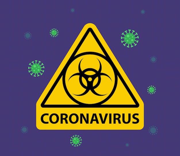 Ostrzeżenie w trójkątnym znaku o koronawirusie. strefa kwarantanny. ilustracja wektorowa płaskie.