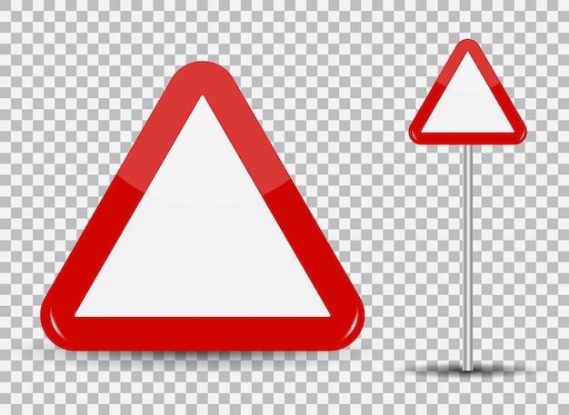 Ostrzeżenie znak drogowy na przezroczystym