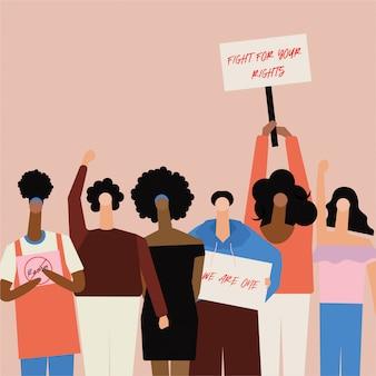 Oświadczenie black lives matter protestujący walczą o prawa człowieka przeciwko rasizmowi, powstrzymują przemoc wobec czarnych.