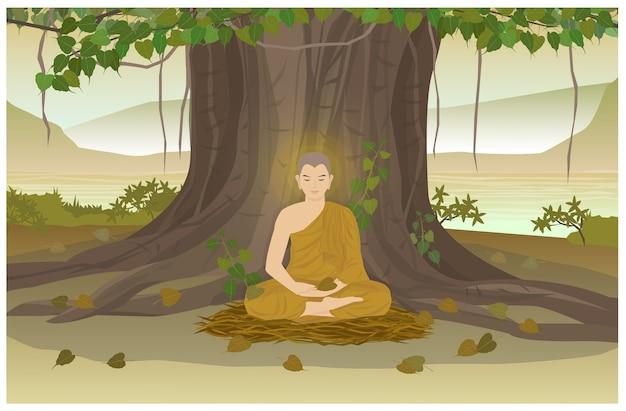 Oświecenie buddy pod drzewem bodhi teraźniejszość jest dniem visakha puja.