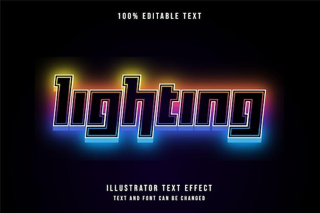 Oświetlenie, edytowalny efekt tekstowy 3d, żółta gradacja, pomarańczowy, różowy, fioletowy, niebieski, nowoczesny styl neon