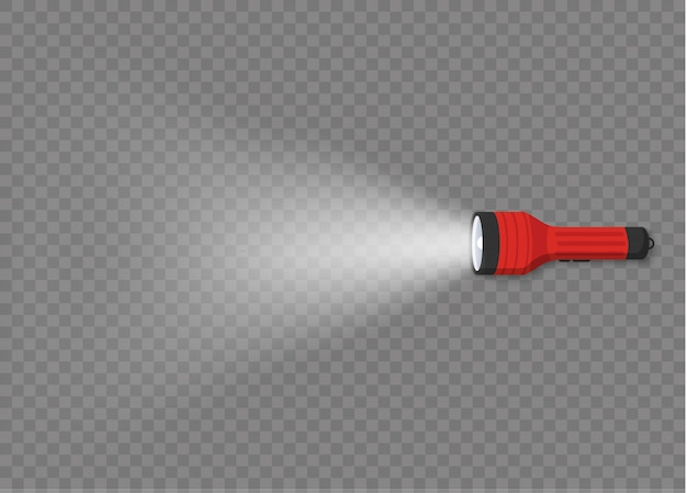 Oświetlenie latarki z reflektorem lub lampą błyskową. różne rodzaje latarek z wiązkami światła na przezroczystym tle. zestaw latarni lub lampy błyskowej.