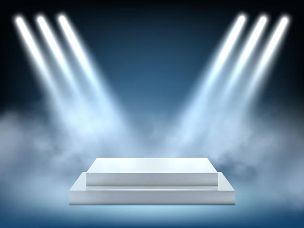 Oświetlenie realistyczne sceny. wewnętrznego zwycięzcy podium światła światła reflektorów projekci jaskrawy wektorowy 3d środowisko