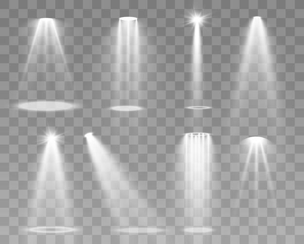 Oświetlenie sceniczne, zbiór przezroczystych efektów. jasne oświetlenie z reflektorami.