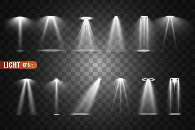 Oświetlenie sceniczne, zbiór przezroczystych efektów. jasne światło z reflektorami.