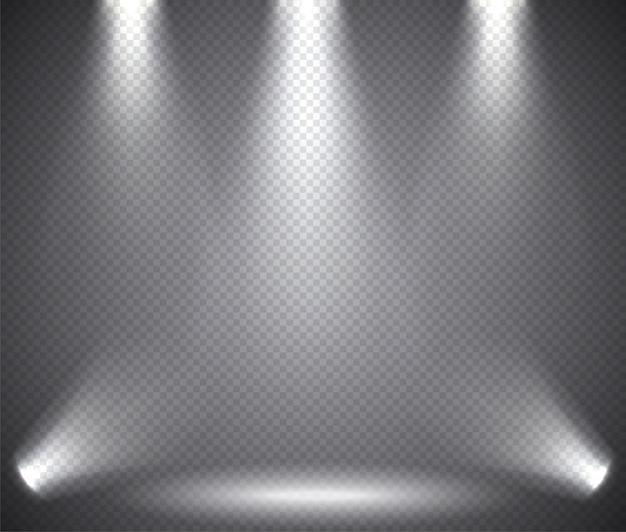 Oświetlenie sceny od góry i od dołu, efekty przezroczyste