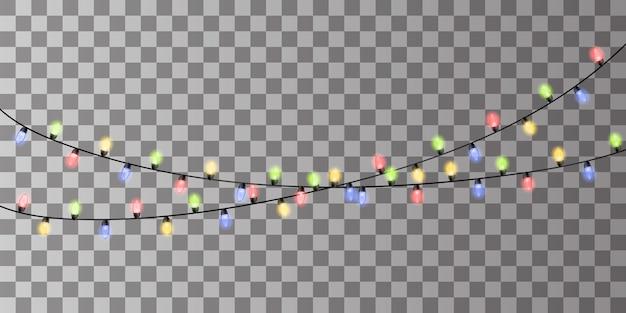 Oświetlenie świąteczne. kolorowa girlanda świąteczna. wektor czerwony, żółty, niebieski i zielony żarowe żarówki na drutach izolowane. ozdoby świąteczne