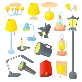Oświetleniowe ikony ustawiać w kreskówka stylu
