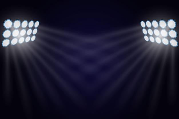 Oświetlone reflektorami.