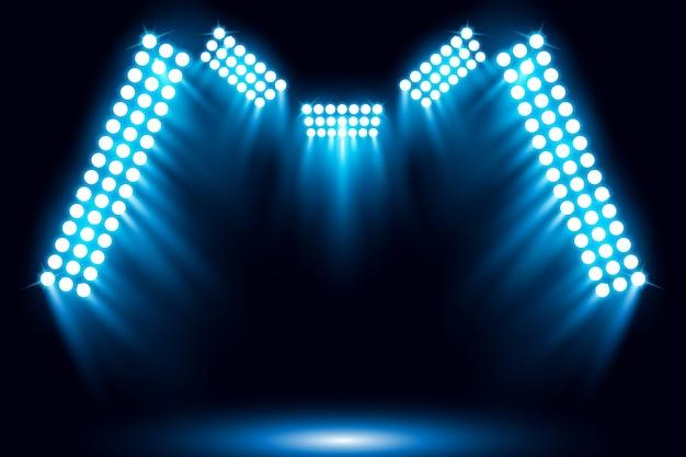 Oświetlone tło sceny niebieski reflektor