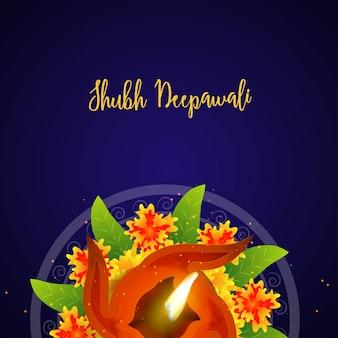 Oświetlony olej oświetlone lampy na kwiaty urządzone rangoli, fioletowym tle. szczęśliwy diwali koncepcji uroczystości.