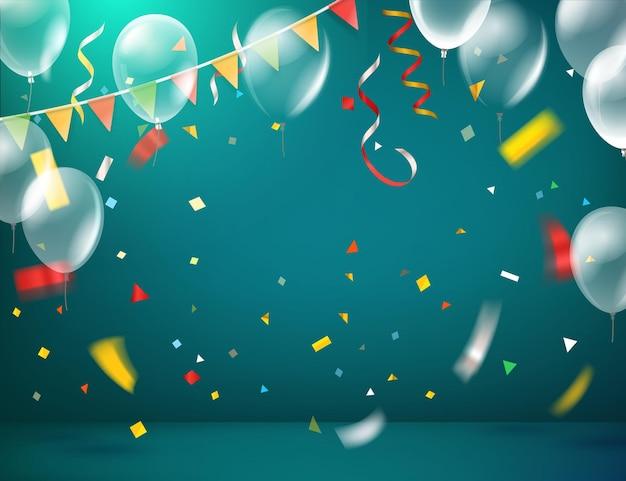 Oświetlony pokój z konfetti i balonami