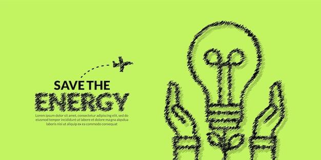 Oszczędność energii ekologicznej i uratuj świat banner ręka trzymaj żarówkę na tle