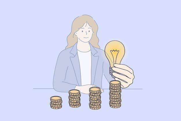 Oszczędność energii i pieniędzy koncepcja