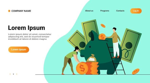 Oszczędność koncepcji finansowej pieniędzy. ludzie z kreskówek wkładają pieniądze do skarbonki, uzyskują i inwestują dochody
