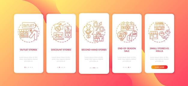 Oszczędność na zakupie odzieży wprowadzającej na ekran strony aplikacji mobilnej z izolowanymi koncepcjami