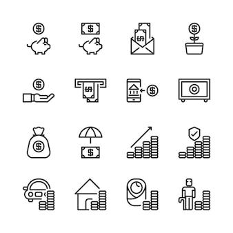 Oszczędność pieniędzy i zestaw ikon inwestycji