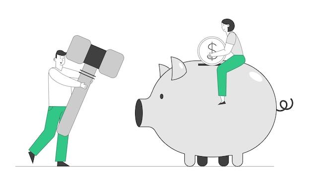Oszczędność pieniędzy, koncepcja problemów finansowych.